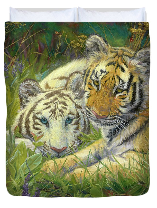 Tiger Duvet Cover featuring the painting Sisters by Lucie Bilodeau