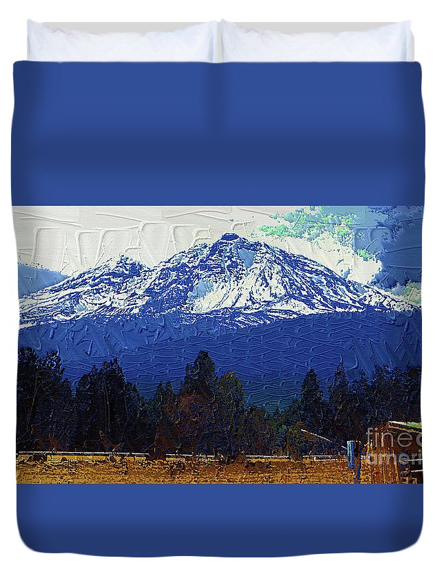 Diane Berry Duvet Cover featuring the painting Sisters Oregon Ranch by Diane E Berry