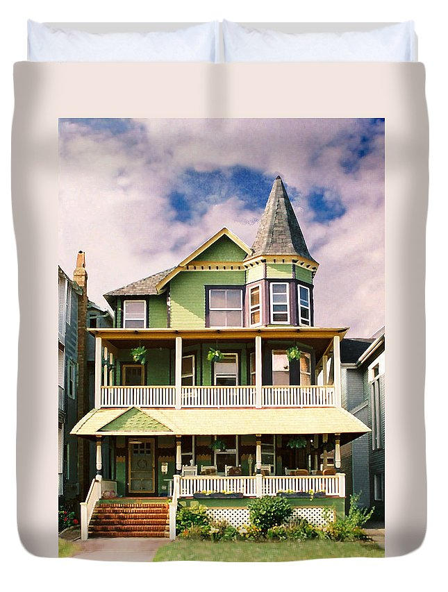 Archtiecture Duvet Cover featuring the photograph Sisters Panel 1 Of Triptych by Steve Karol