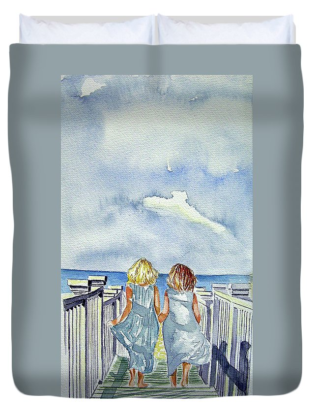 Sisters Duvet Cover featuring the painting Sisters by Paul Sandilands