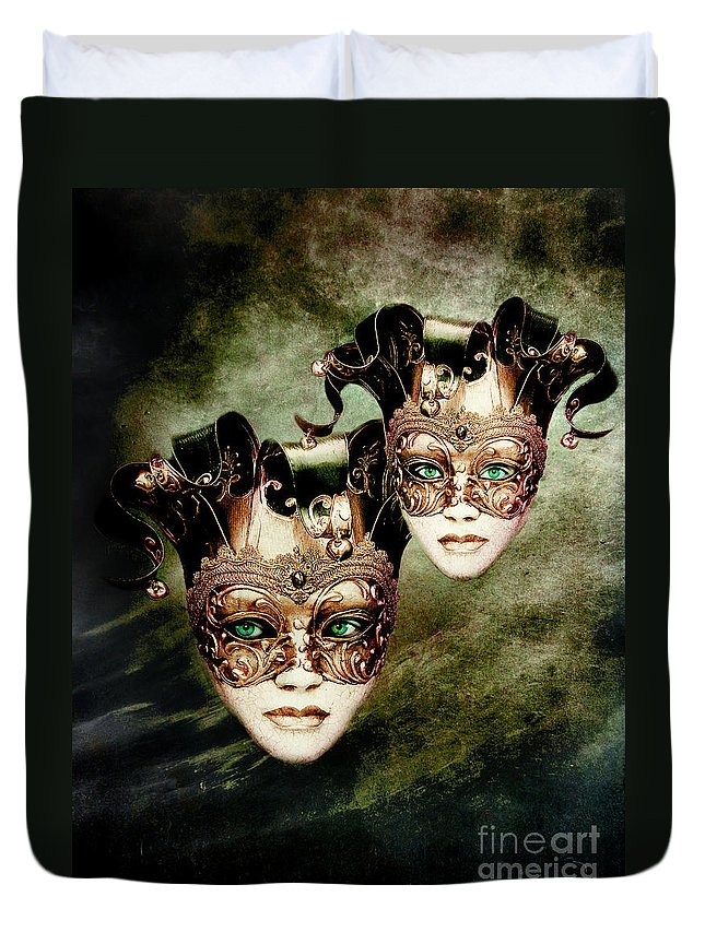 Woman Duvet Cover featuring the digital art Sisters by Jacky Gerritsen