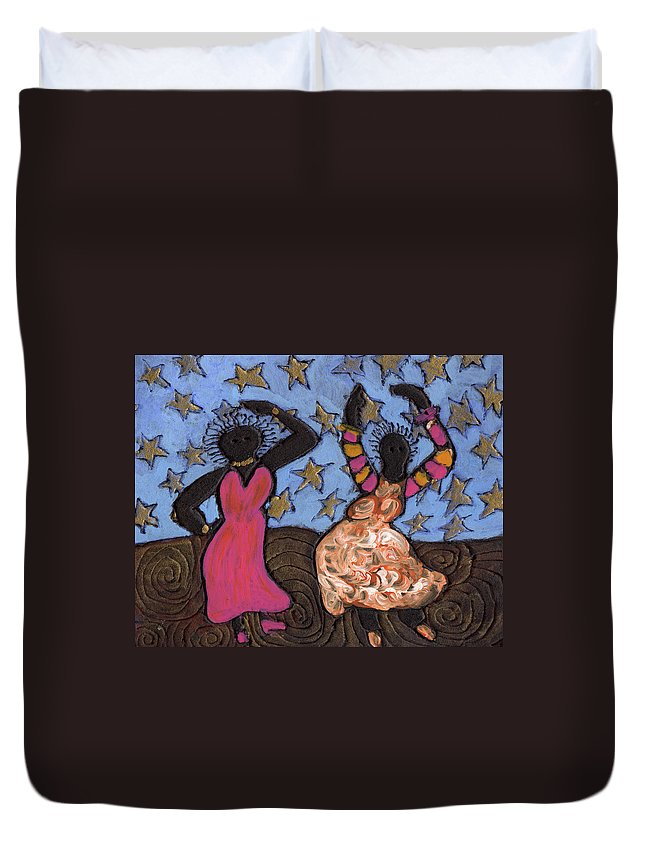 Folk Art Duvet Cover featuring the painting Sisters Sarah Sue And Sally Mae Swinging The Night Away by Wayne Potrafka