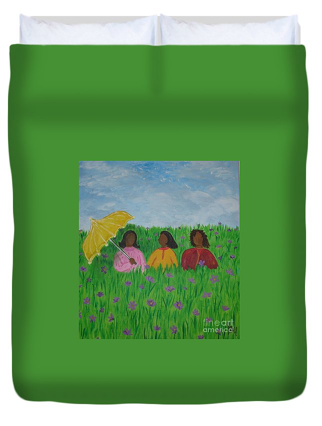Sisters Duvet Cover featuring the painting Sisters Talk by Sheila J Hall