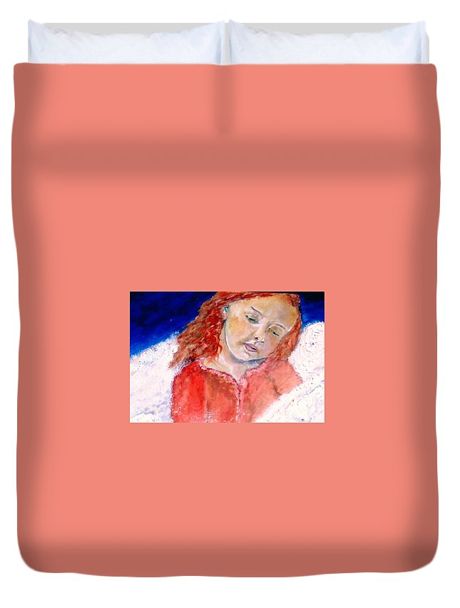 Angels Duvet Cover featuring the painting watching the Dreamers by J Bauer