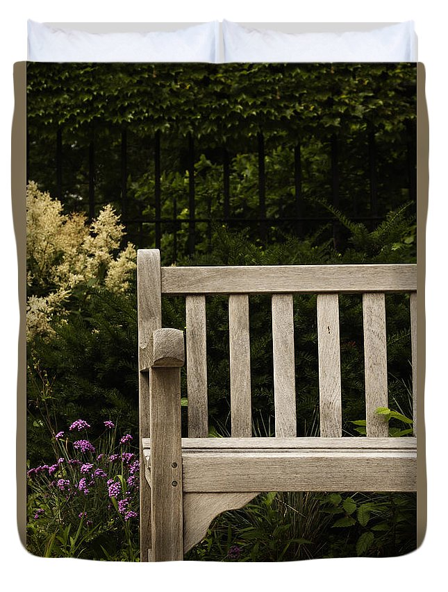 Bench Duvet Cover featuring the photograph Sit For A Bit by Margie Hurwich