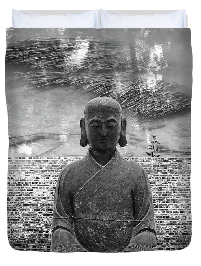 Buddha Duvet Cover featuring the photograph Flowing Mind by Zena Zero