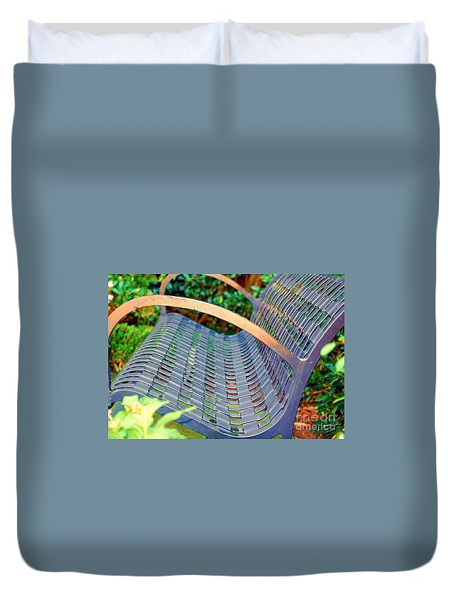 Bench Duvet Cover featuring the photograph Sitting On A Park Bench by Debbi Granruth