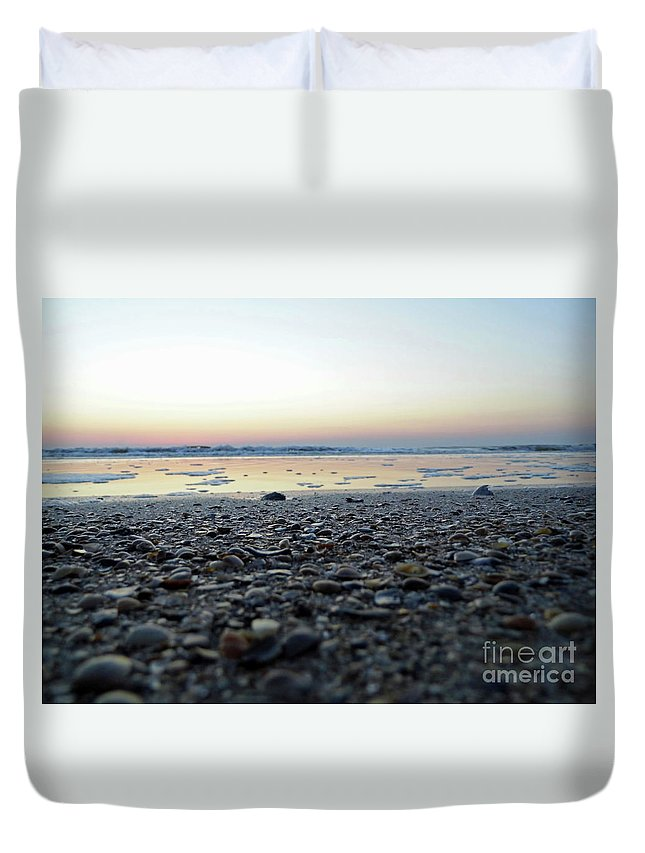 Sunrise Duvet Cover featuring the photograph Sitting On The Beach by D Hackett
