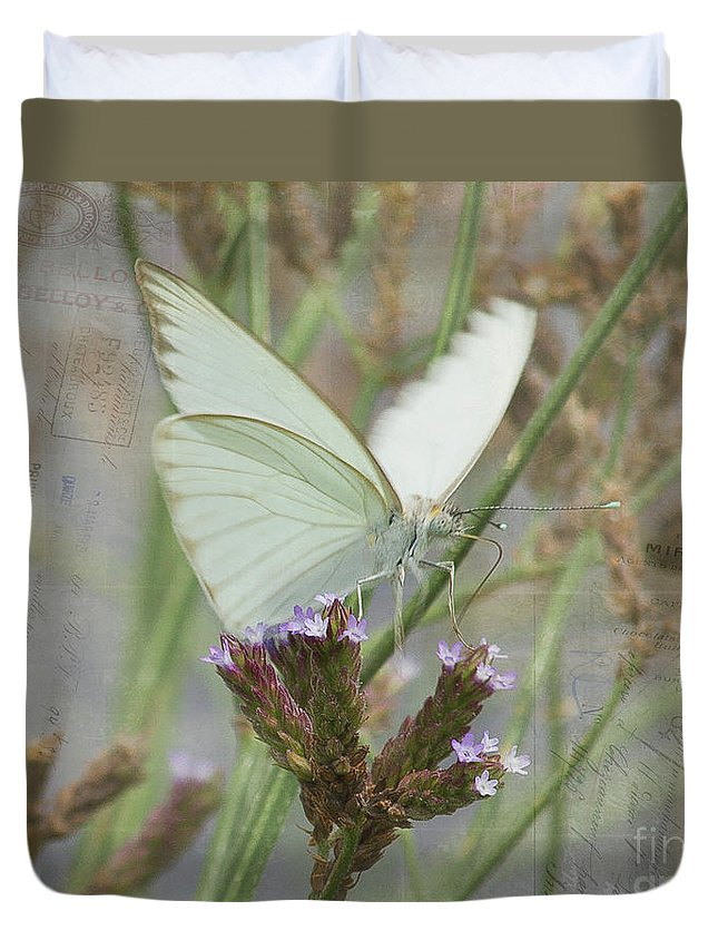 Butterfly Duvet Cover featuring the photograph Sitting Pretty, Cabbage White Butterfly by TN Fairey