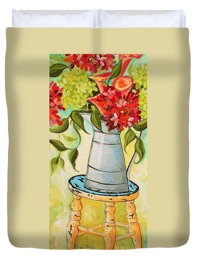 Flowers Duvet Cover featuring the painting Sitting Pretty by Peggy Davis