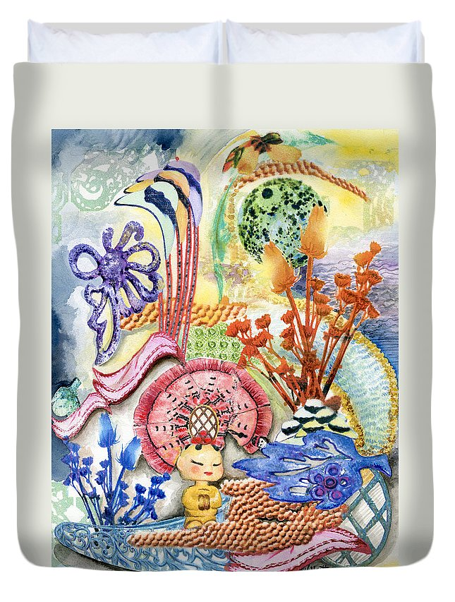 Bright Duvet Cover featuring the painting Sitting Pretty by Valerie Meotti