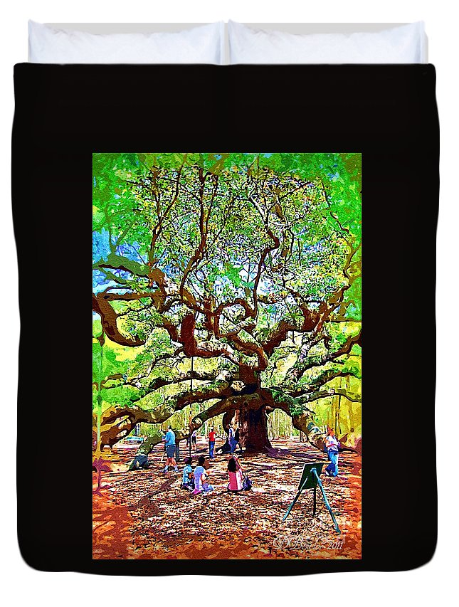 Duvet Cover featuring the photograph Sitting Under The Live Oaks by Donna Bentley