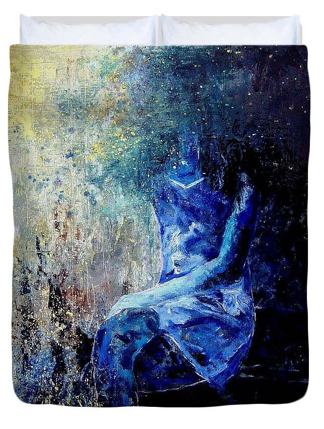 Woman Girl Fashion Duvet Cover featuring the painting Sitting Young Girl by Pol Ledent
