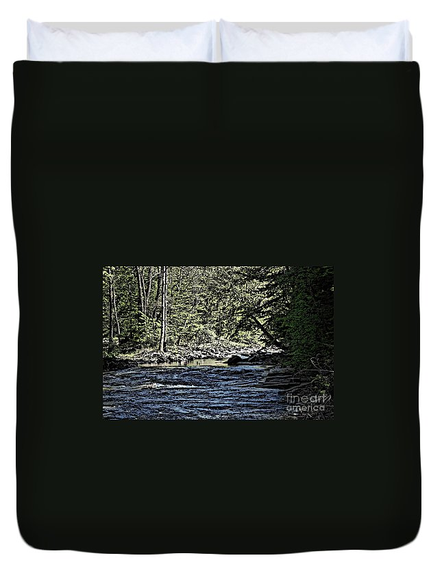 Landscape Duvet Cover featuring the photograph Six Mile Creek Ithaca Ny by David Lane