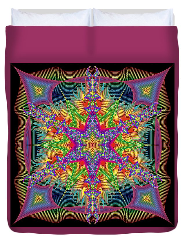 Mandala--shapes And Colors Duvet Cover featuring the digital art Sixes Are Wild by Gerald Brewster