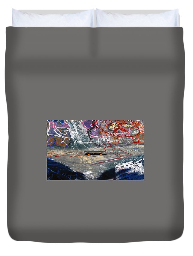 Skateboard Duvet Cover featuring the photograph Skateboard by David Lee Thompson