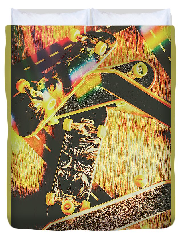 Skateboard Duvet Cover featuring the photograph Skateboarding Tricks And Flips by Jorgo Photography - Wall Art Gallery