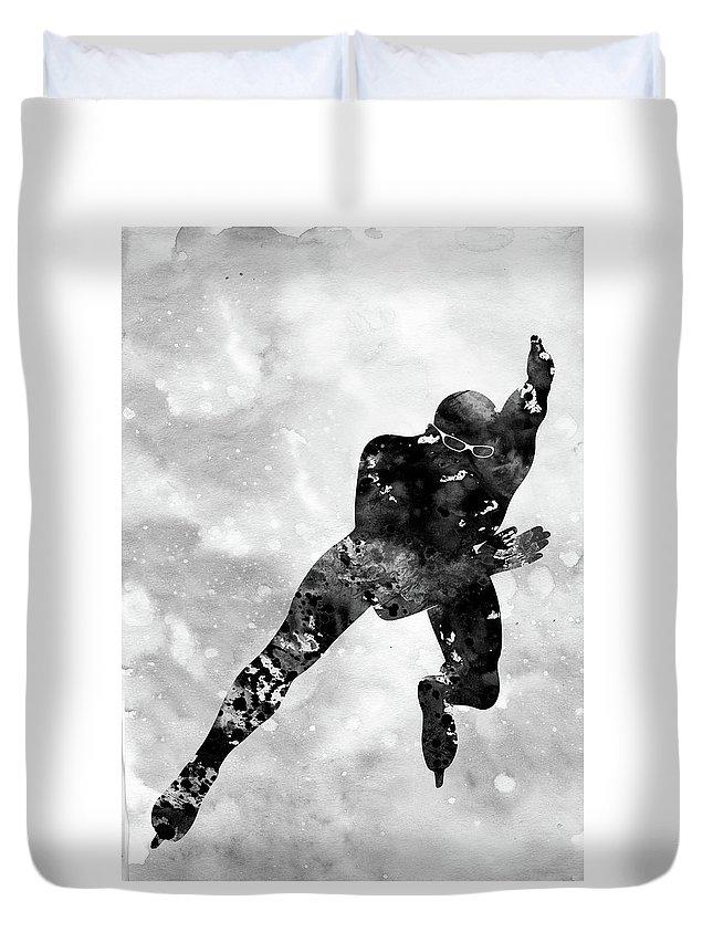 Skating Man Duvet Cover featuring the digital art Skating Man-black by Erzebet S