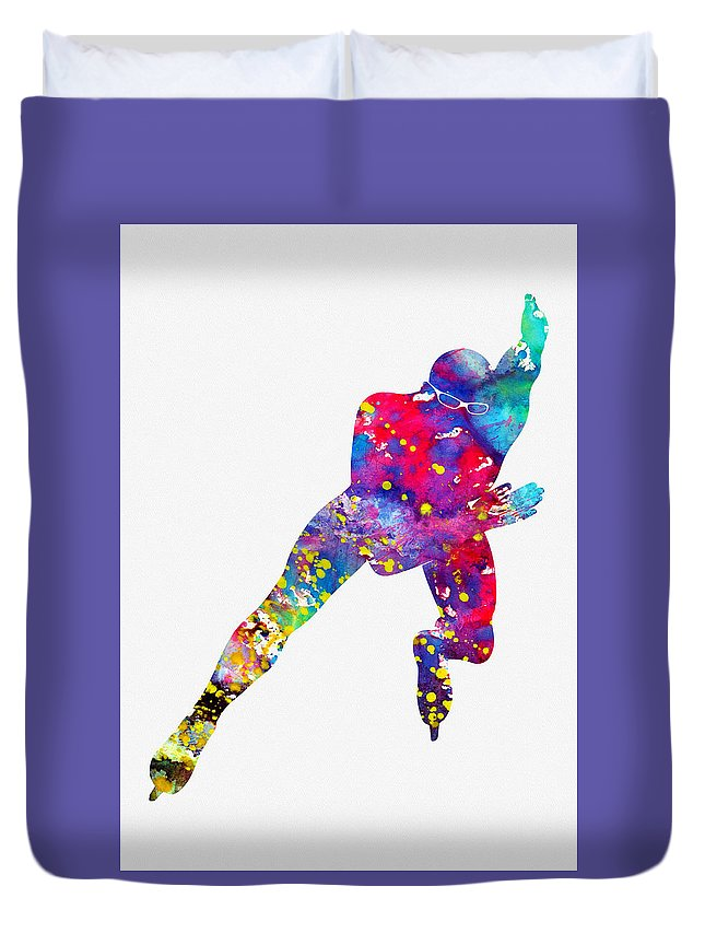 Skating Man Duvet Cover featuring the digital art Skating Man-colorful by Erzebet S