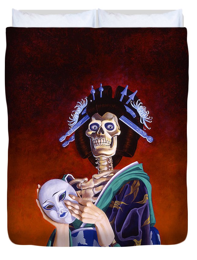 Skeleton Duvet Cover featuring the painting Skeletal Geisha With Mask by Melissa A Benson