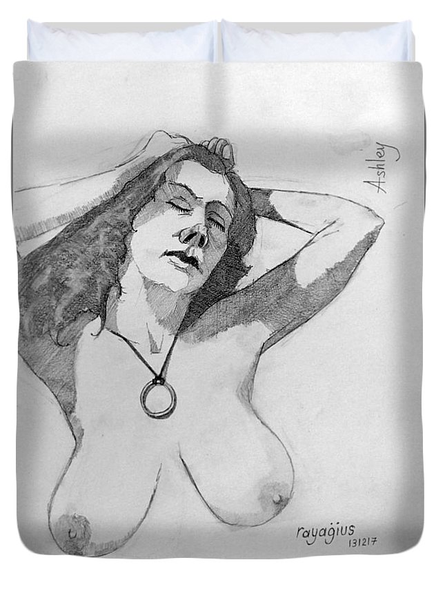 Female Duvet Cover featuring the drawing Sketch For Ashley by Ray Agius