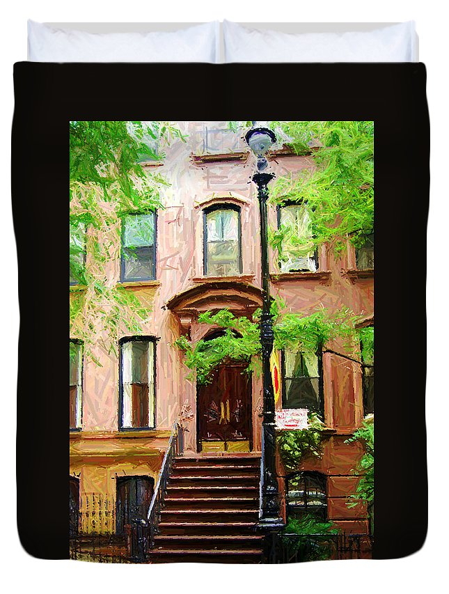 Greenwich Village Duvet Cover featuring the digital art Sketch Of Carrie Bradshaw Greenwich Village Brownstone by Randy Aveille