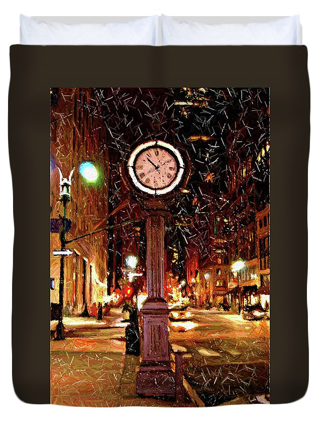 Manhattan Duvet Cover featuring the digital art Sketch Of Midtown Clock In The Snow by Randy Aveille