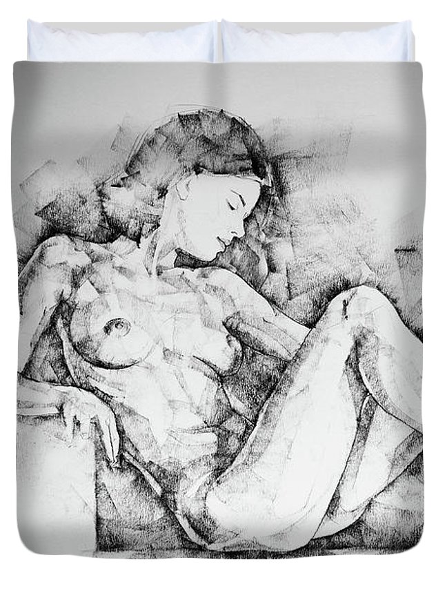 sketchbook page 42 drawing girl sitting pose duvet cover for sale by