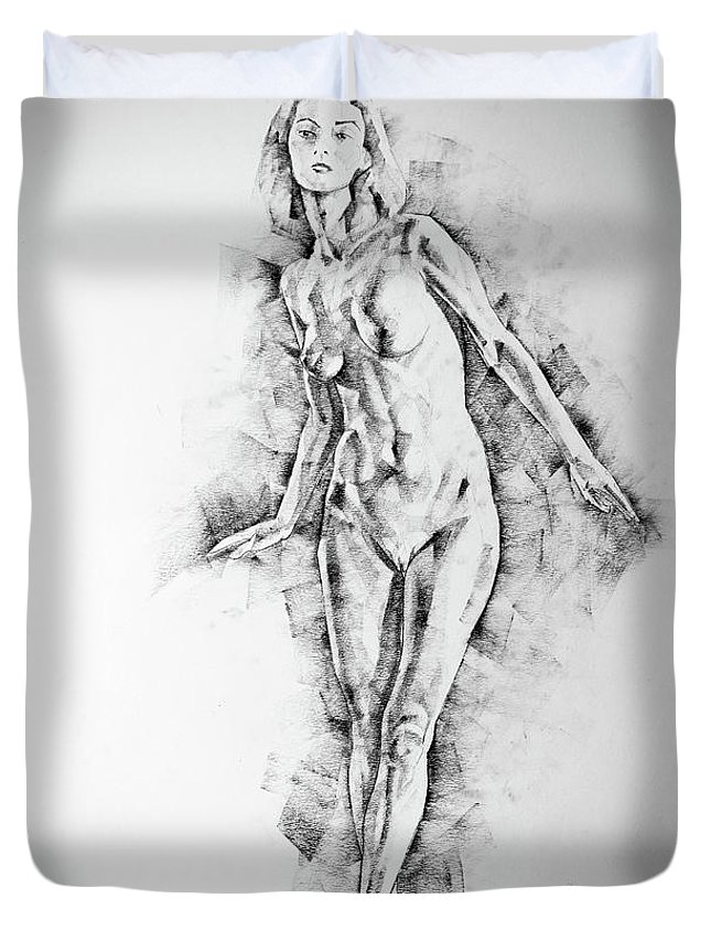 sketchbook page 56 girl stand up pose drawing duvet cover for sale