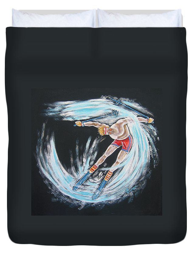 Abstract Sports Duvet Cover featuring the painting Ski Bum by V Boge