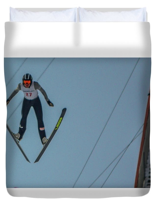 Ski Jumper Duvet Cover featuring the photograph Ski Jumper 2 by Tommy Anderson