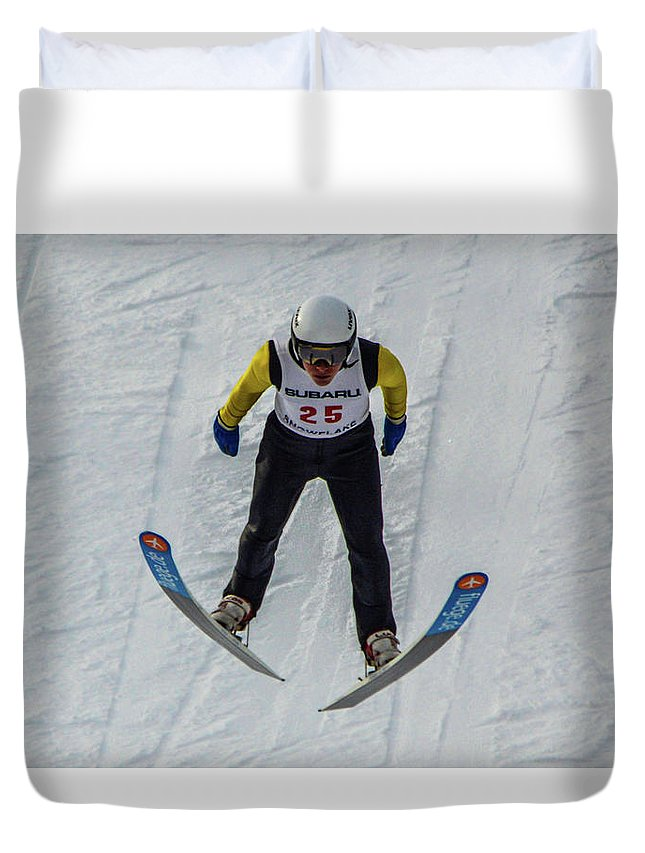 Ski Jumper Duvet Cover featuring the photograph Ski Jumper 3 by Tommy Anderson