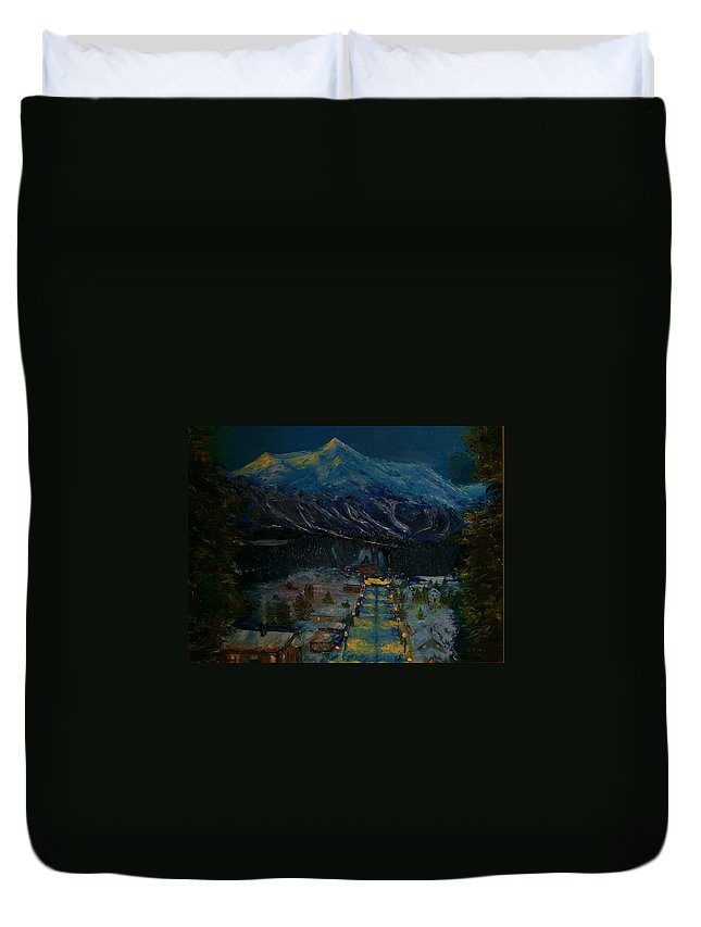 Winter Duvet Cover featuring the painting Ski Resort by Stephen King