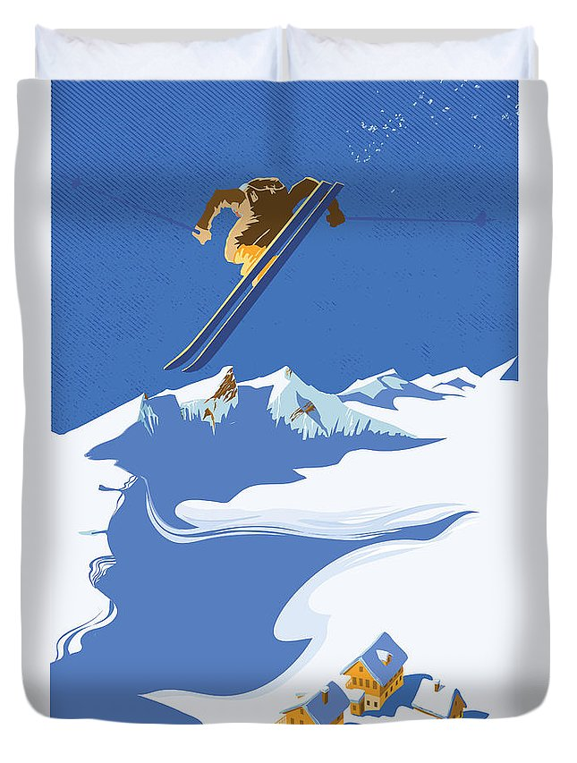 Ski Duvet Cover featuring the painting Sky Skier by Sassan Filsoof