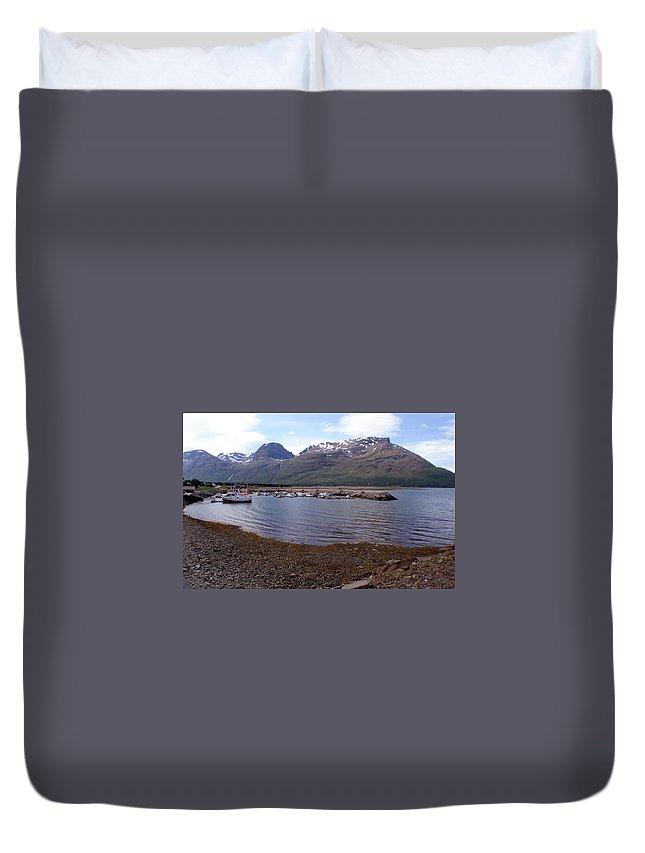 Skibotn Duvet Cover featuring the photograph Skibotn Harbor Norway by Merja Waters