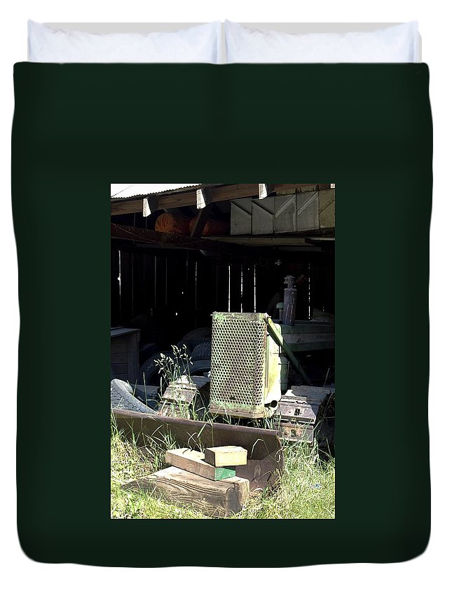 Backhoe Duvet Cover featuring the photograph Skid by Sara Stevenson