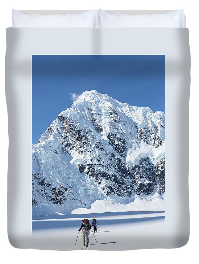 Alaska Duvet Cover featuring the photograph Skiers And Shadows by Tim Grams