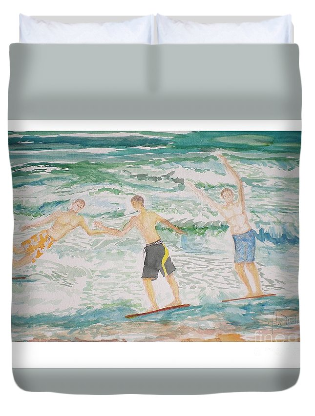 Seascape Duvet Cover featuring the painting Skim Boarding Daytona Beach by Hal Newhouser