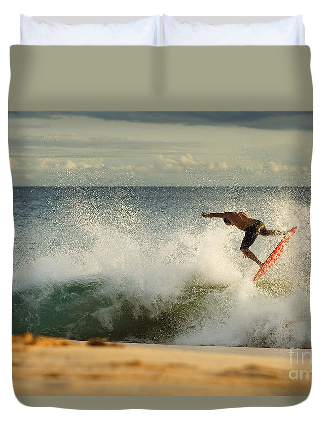 Action Duvet Cover featuring the photograph Skimboarding - Makena by MakenaStockMedia - Printscapes