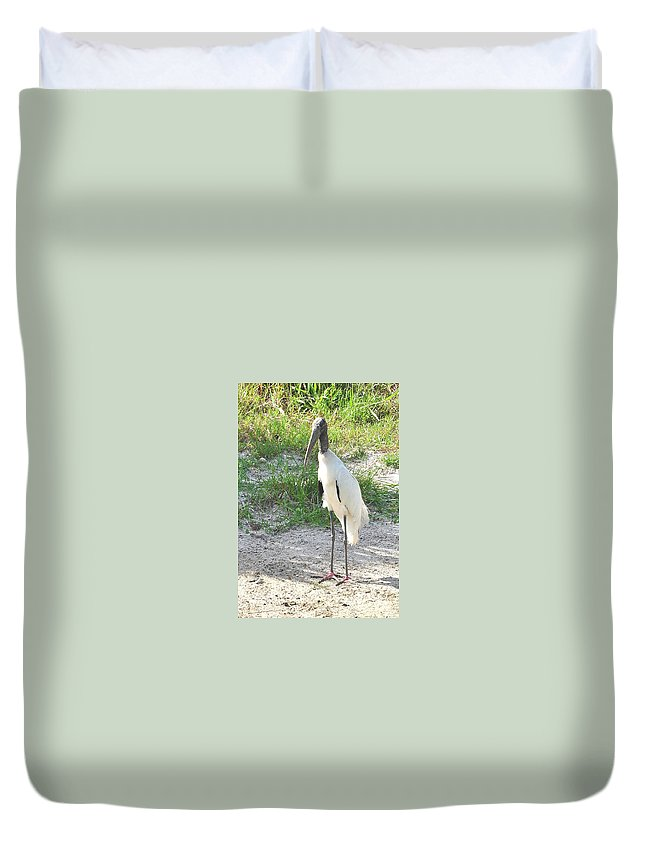 Wood Stork Duvet Cover featuring the photograph Skinny Wood Stork by Amy Spear