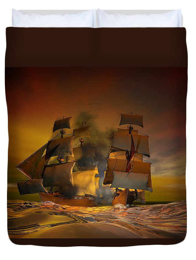 Sea Duvet Cover featuring the digital art Skirmish by Carol and Mike Werner