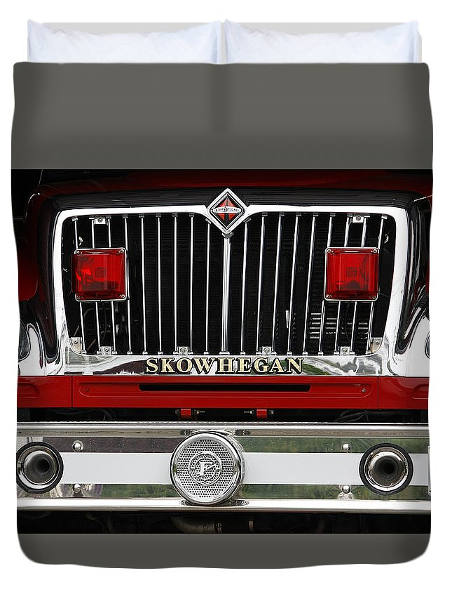 Fire Duvet Cover featuring the photograph Skowhegan Maine Firetruck Grill by Michele A Loftus