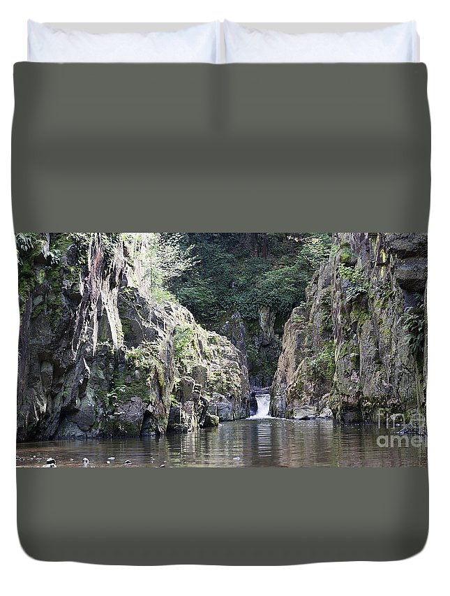 Waterfall Duvet Cover featuring the photograph Skryje Waterfall And Pond by Michal Boubin