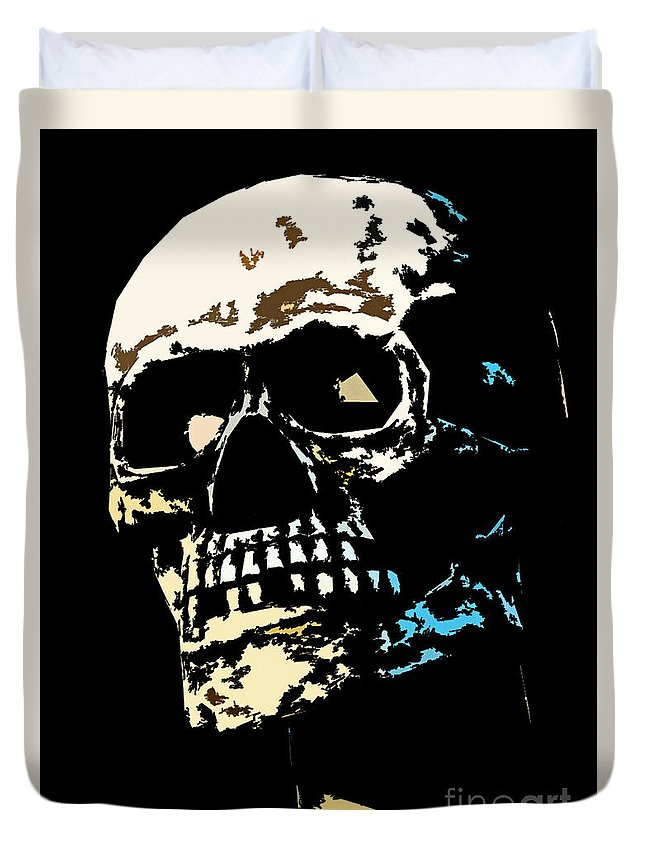 Fake Duvet Cover featuring the photograph Skull Against A Dark Background by Nick Biemans