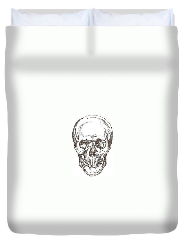 Skull Duvet Cover featuring the drawing Skull by Americo Salazar