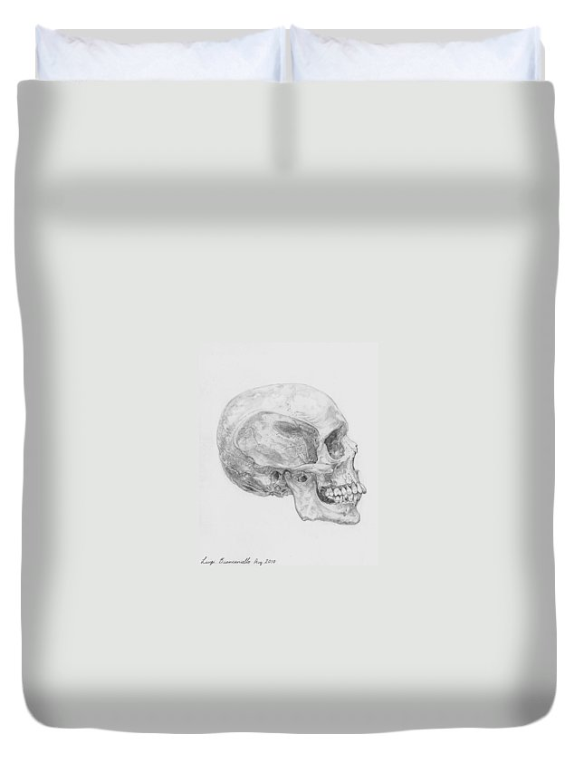 Skull Skeleton Duvet Cover featuring the drawing Skull by Luigi Biancaniello