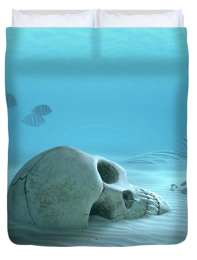 Skull Duvet Cover featuring the photograph Skull On Sandy Ocean Bottom by Johan Swanepoel