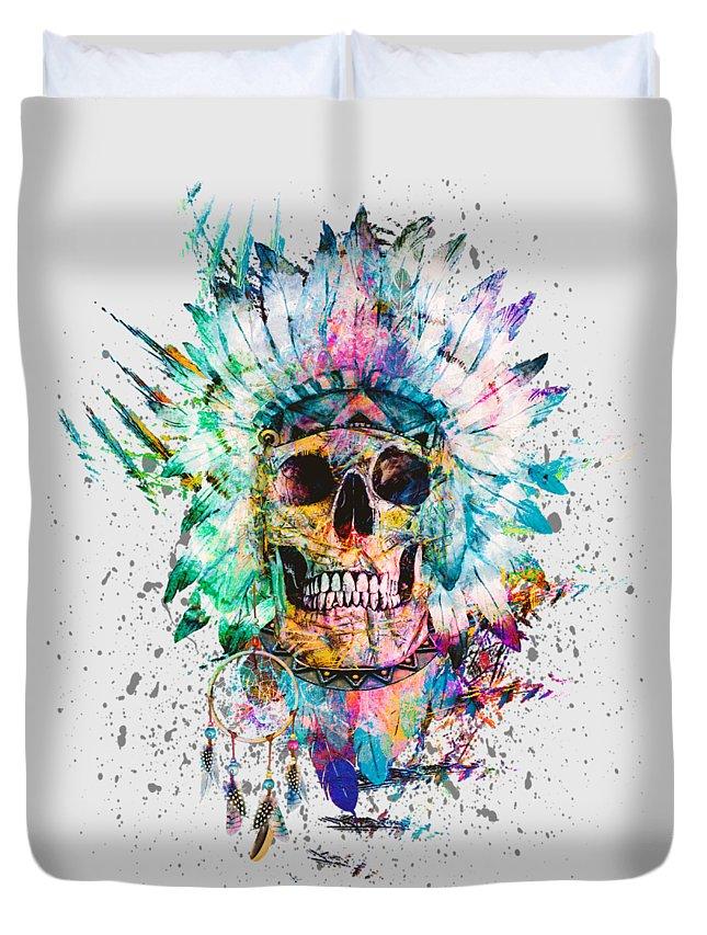 Skull Duvet Cover featuring the digital art Skull - Wild Sprit by Riza Peker
