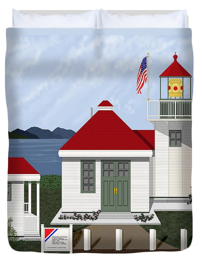 Skunk Bay Lighthouse Duvet Cover featuring the painting Skunk Bay Lighthouse by Anne Norskog