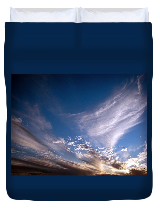 Skies Duvet Cover featuring the photograph Sky by Amanda Barcon